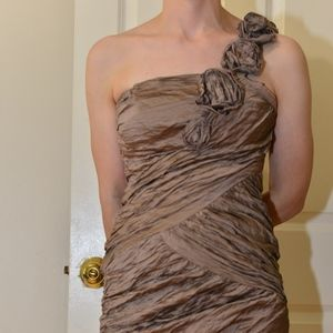 BCBG Max Azria One Shoulder Bronze Dress